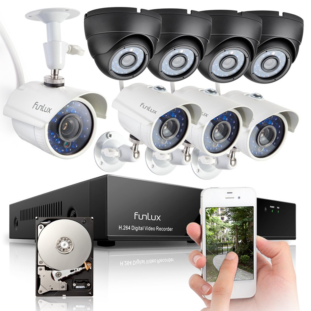 Funlux® 8 Channel Full 960H DVR Surveillance System with 1TB HDD (Record up to 200 Days ...