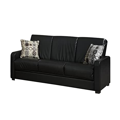 Handy Living Tahoe Renu Leather Convert-a-Couch, Black