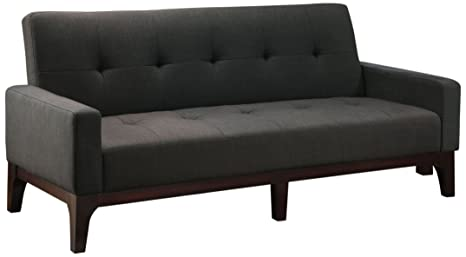 Furniture of America Futon Fabric Upholstered Convertible Sofa, Charcoal