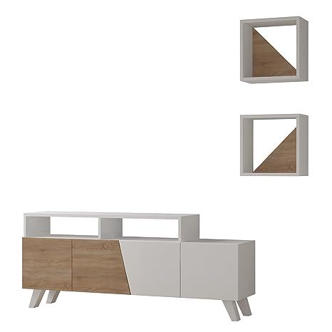 Homitis Fernsehgerät, Cafune, Holzdekor, Weiß/Sonomo, 31,5 x 140 x 58 cm