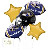 Andaz Press Balloon Bouquet Party Kit with Gold Cards & Gifts Sign, Ravens Football Themed Foil Mylar Balloon Decorations, 1-Set (Color: Sports Ravens)