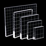 5 Pieces Stamp Blocks with Grid, Acrylic Clear Stamping Blocks Set Essential Stamping Tools for Scrapbooking Crafts Making, Aunifun