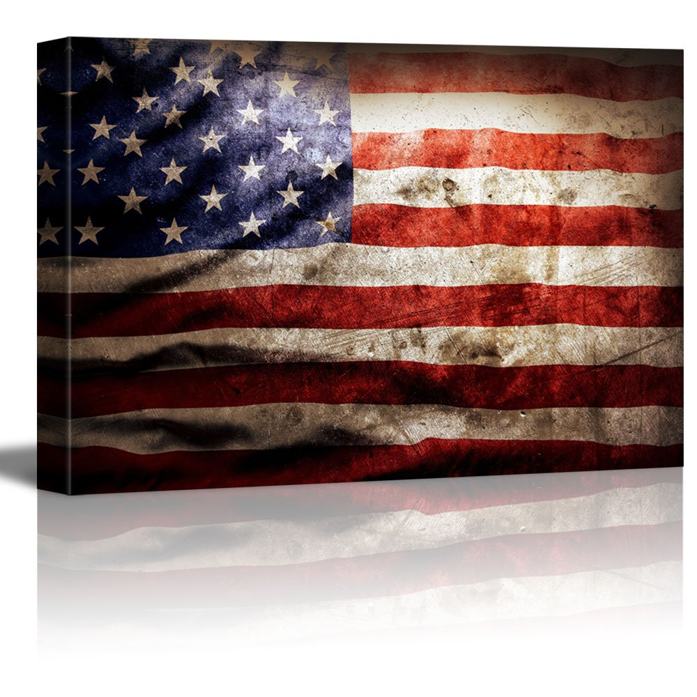 Canvas Prints Closeup Of Grunge American Flag Vintage 24
