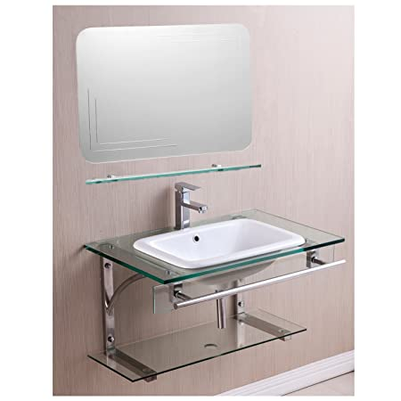 Basic Living 03-03-177 Wall Hung Tempered Glass and Ceramic Bathroom Vanity