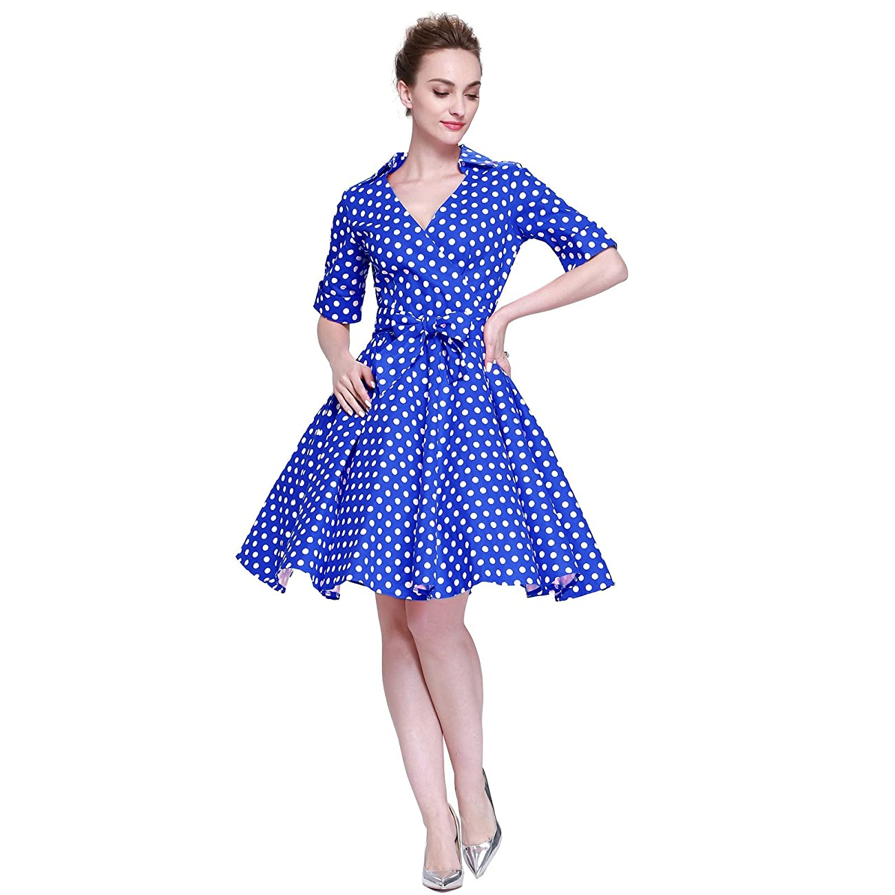 Heroecol Womens Vintage 1950s Dresses Cross V Neck Short Sleeve 50s 60s Style Retro Swing Cotton Dress 4