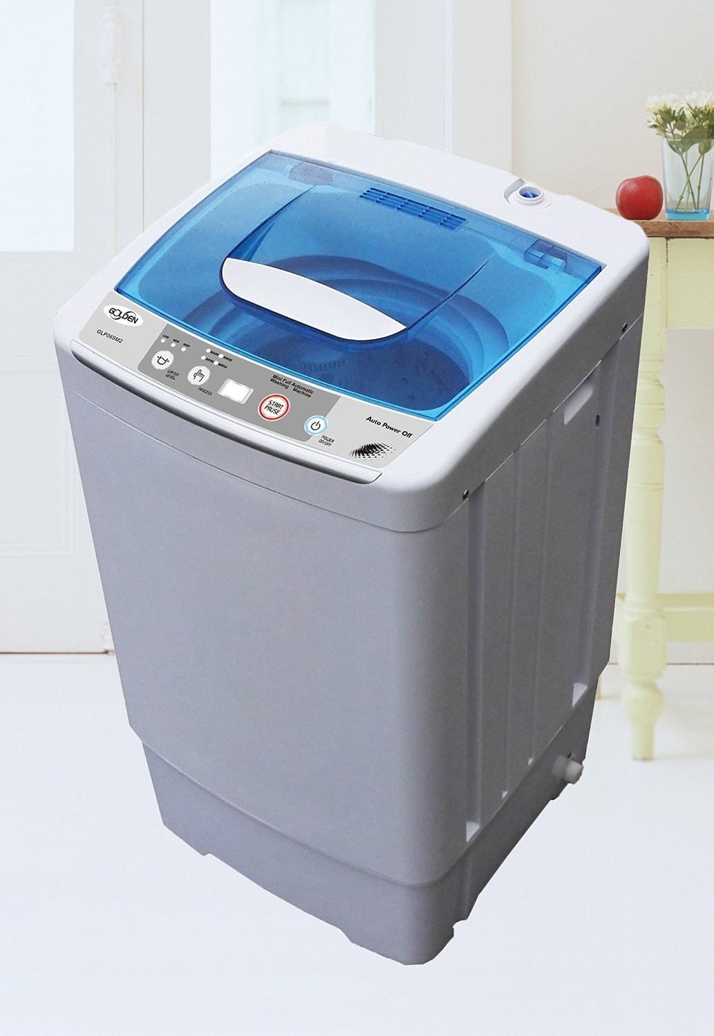 Golden Portable Washer Machine (0.78 Cf - 6.2 Lbs) Mini Washing Machine Automatic GLP06SM2 - White
