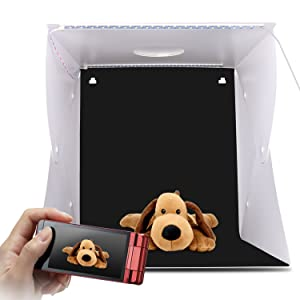 Zenic 17 inches Portable Photography Photo Studio, Upgraded Version LED Light Portable Mini Photo Light Box Studio with 2pcs LED Lights and 4pcs Backgrounds (17x16.2x16 inches) (Tamaño: 17x16.2x16 inches)