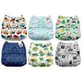 Mama Koala One Size Baby Washable Reusable Pocket Cloth Diapers, 6 Pack with 6 One Size Microfiber Inserts (Naughty Elephant) (Color: Naughty Elephant, Tamaño: One Size)