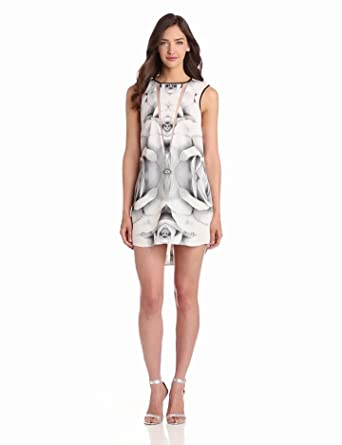 findersKEEPERS Women's Tangled Secrets Dress, Rose Print/Monochrome White, Large
