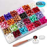 600PCS Sealing Wax Beads Packed in Plastic Box, with 2PCS Tea Candles and 1 PC Wax Melting Spoon for Wax Sealing Stamp (24 Colors)