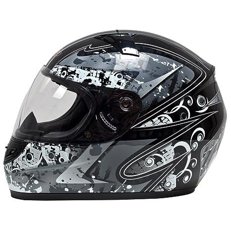 Akira 22404 Casque Moto Intégral Sapporo Motif, Noir/Gris/Graphique, L
