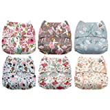Mama Koala One Size Baby Washable Reusable Pocket Cloth Diapers, 6 Pack with 6 One Size Microfiber Inserts (Ballerina) (Color: Ballerina, Tamaño: One Size)