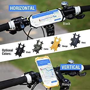 Black M XS MAX,Plus 8 7 6 5,Galaxy,Note Cyclepartner Universal Phone Mount for Bike Non-Slip Shockproof German Silicone Cellphone Bicycle Motorcycle Holder Mobile Smartphone Compatible for iPhone X