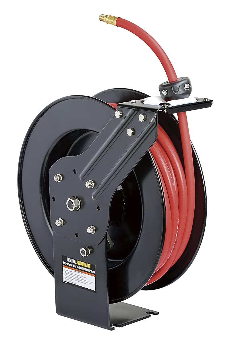 """ReelWorks L815153HA Steel Retractable Air Compressor/Water Hose Reel with 3/8"""" x 50 Hybrid Polymer Hose, Max. 300 psi"""