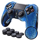 Pandaren STUDDED Anti-slip Silicone Cover Skin Set for PS4 /SLIM /PRO controller(CamouBlue controller skin x 1 + FPS PRO Thumb Grips x 8) (Color: Blue, Tamaño: PS4)