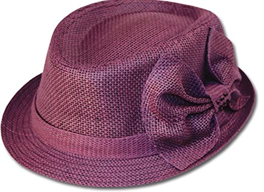 EH7341F – Womens Structured 100% Paper Straw Matching Bow Accent Fedora Hat – Purple/One Size