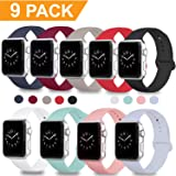 DOBSTFY Compatible for Apple Watch Sport Band 38mm 42mm, Soft Silicone Replacement iWatch Bands Strap Sport Band Compatible for Apple Watch Series 3 2 1 Nike+ Edition, S/M M/L, 9PACK, 38mm S/M (Color: 9PACK, Tamaño: 38mm 40mm S/M)