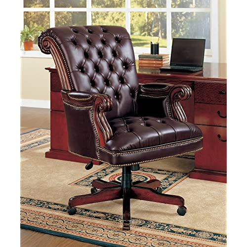 Coaster Traditional Executive Office Chair Nail head Trim Tufted Back