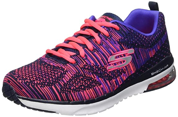 Skechers Skech Air Infinity Stand Out Bleu Rose Femmes Baskets