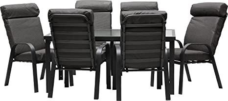 IB-Style - MADEIRA Alu Gartenmöbel 13-Teilig |6 Stapelstuhle inkl. starke Sitzpolster | Gartentisch Aluminium /Sicherheitsglas | Komfortabele Gartengruppe Gartengarnitur Sitzgruppe Gartenmöbel Set