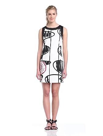 Desigual Women's VEST_AUME Sleeveless Dress  - White - Blanc (Algodón) - 16 (Brand size: 44)