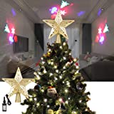 ALLOMN Christmas Lighting, Christmas Tree Topper Projector Light 3D Glitter Lighted Star Tree Topper with Adjustable LED Snowstorm/Snowman/Stripe RGB Projector Lights 3m Cable, US Plug (Snowman) (Color: Snowman)