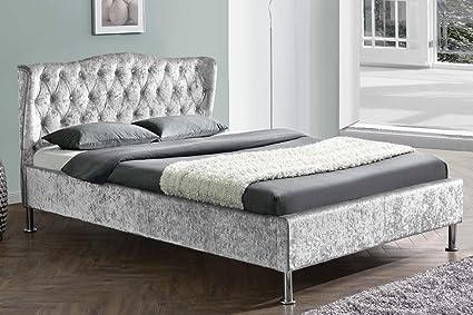Sandringham geflugelten zugeknöpft Kopfteil grau oder Crushed Silber Bett Doppel- oder King Size By Sleep Design, Textil, Crushed Silver, Double 4FT6