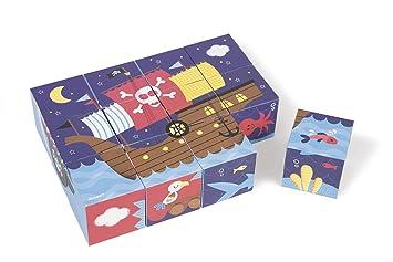 Janod - J02984 - Kubkid - 12 Cubes Pirates