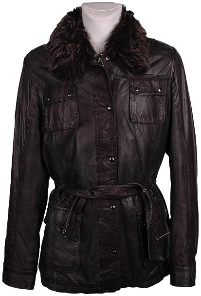 7eleven Damen Leder-Mantel , Model: , Farbe: anthrazit, Größe: 92