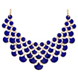 Jane Stone Fashion Bib Collar Necklace Multicolor Enamel Gold Statement Jewelry for Women(Fn0968-Royal Blue)