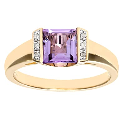 Naava Ladies 9ct Yellow Gold Diamond And Amethyst Dress Ring