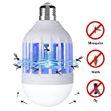 NONPEST Bug Zapper Light Bulb, 2 in 1 Mosquito Lamp, Electronic Fly Killer,Built in Insect Trap, fits in 110V E26/E27 Socket Suit for Indoor Outdoor Porch Patio Backyard (Color: blue, Tamaño: 1 pack)