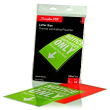 Swingline GBC UltraClear Thermal Laminating Pouches, Letter Size, 3 Mil, 25 Pack (3200577)