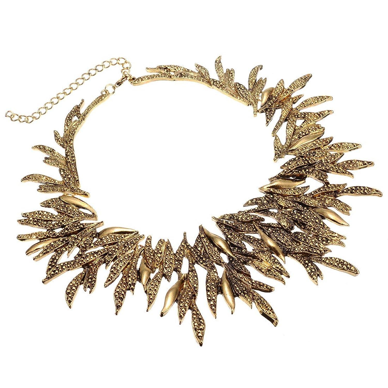 Jerollin Retro Blaetterstil golden Kette Kragenschmuck Halskette fuer Freundingeschenk Party als Weihnachtsgeschenk kaufen