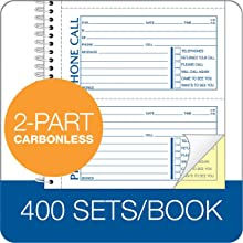 Adams Message Book/Phone Call, Carbonless Duplicate, 5.50 x 11  Inches, 400 Sets per Book (SC1154D)