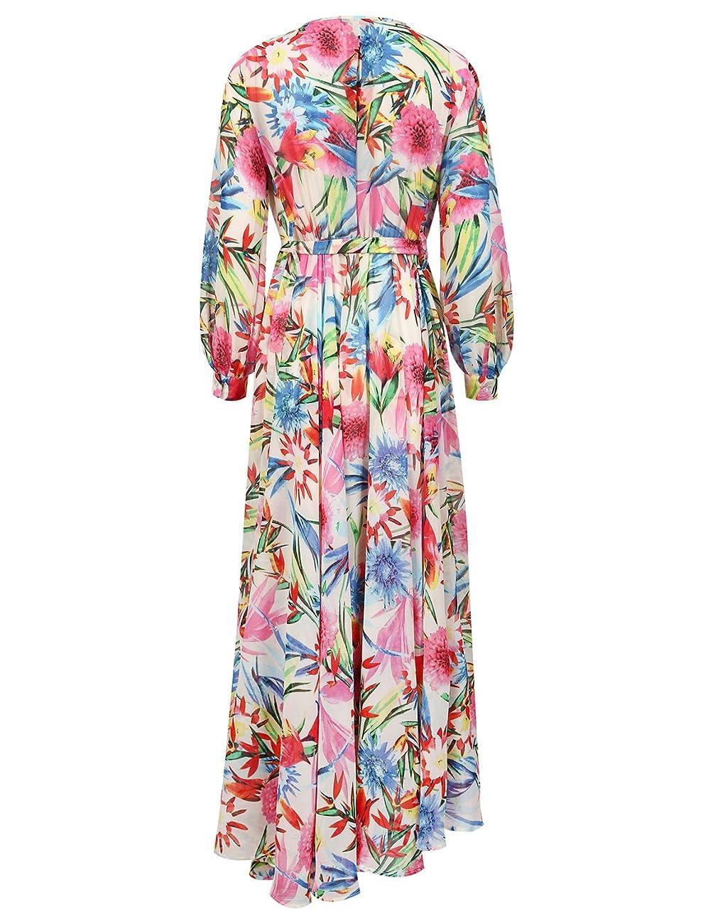 Haoyihui Vintage Style Chiffon V Neck Puff Pleated Wrap Long Maxi Full-Skirted Dress 2