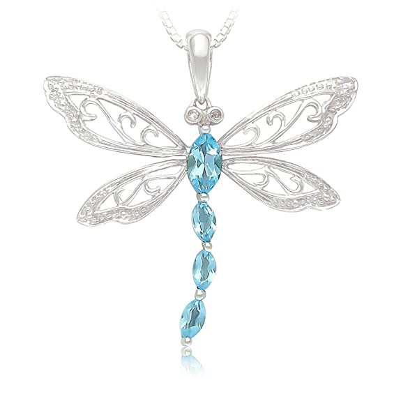 Sterling Silver Marquise Shaped Gemstone and Diamond Dragonfly Pendant Necklace