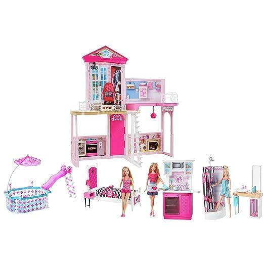 Barbie Home complète Ensemble de jeu (trois Poupées Barbie inclus)