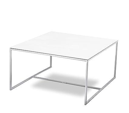 MASSIMILANO Couchtisch, Edelstahl poliert, Keramische Tischplatte Oxide Bianco, 80x80x40cm