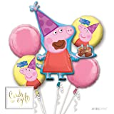 Andaz Press Balloon Bouquet Party Kit with Gold Cards & Gifts Sign, Peppa Pig Birthday Foil Mylar Balloon Decorations, 1-Set (Color: Peppa Pig)