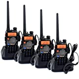 Retevis RT-5RV 2 Way Radio Transceiver 5W 128CH VHF/UHF 136-174/400-520 MHz Dual Band Dual Standby DTMF/CTCSS/DCS FM with Earpiece(4 Pack)