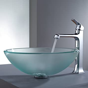 Kraus C-GV-101FR-12mm-15200CH Frosted Glass Vessel Sink and Decorum Faucet Chrome