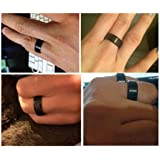 King Will Basic Men Wedding Black Tungsten Ring 8mm Matte Finish Beveled Polished Edge Comfort Fit 9