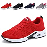 JARLIF Women's Breathable Fashion Walking Sneakers Lightweight Athletic Tennis Running Shoes (8.5 B(M), Red)
