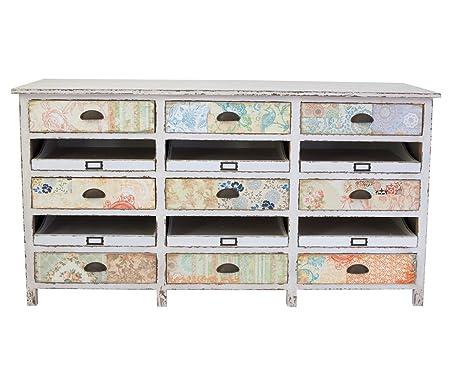 Cómoda Herania Multicolor 152 x 82 cm con diseño Vintage 9 recaídas cómoda