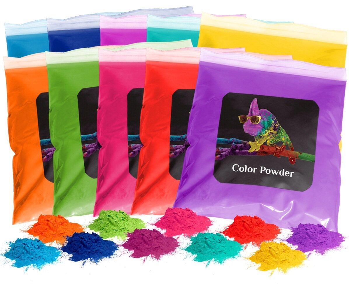 Holi Color Powder 10pk 1lb. Each Red, Yellow, Navy Blue, Green, Orange, Purple, Pink, Magenta, True Blue, Aquamarine