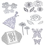 Dies Cut Cutting Die for Card Making Scrapbooking Heart Leaf Rose Flowers Beauty Lotus Root Girls Betterfly Love Stencils 3D Love Photo Frame Embossing Paper Cards for DIY Photo Album(Set 6) (Color: Set 6)