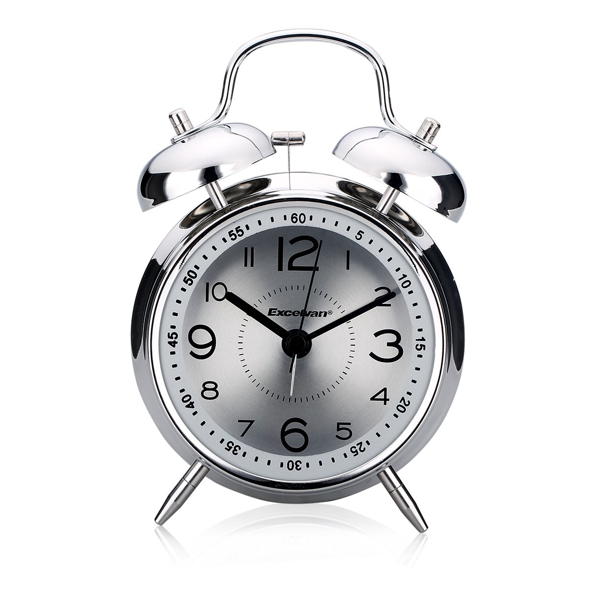"Excelvan 4""Classic Alarm Clock Bedside Quartz Analog Twin Bell Alarm Clock With Loud Alarm and Nightlight(silver)"