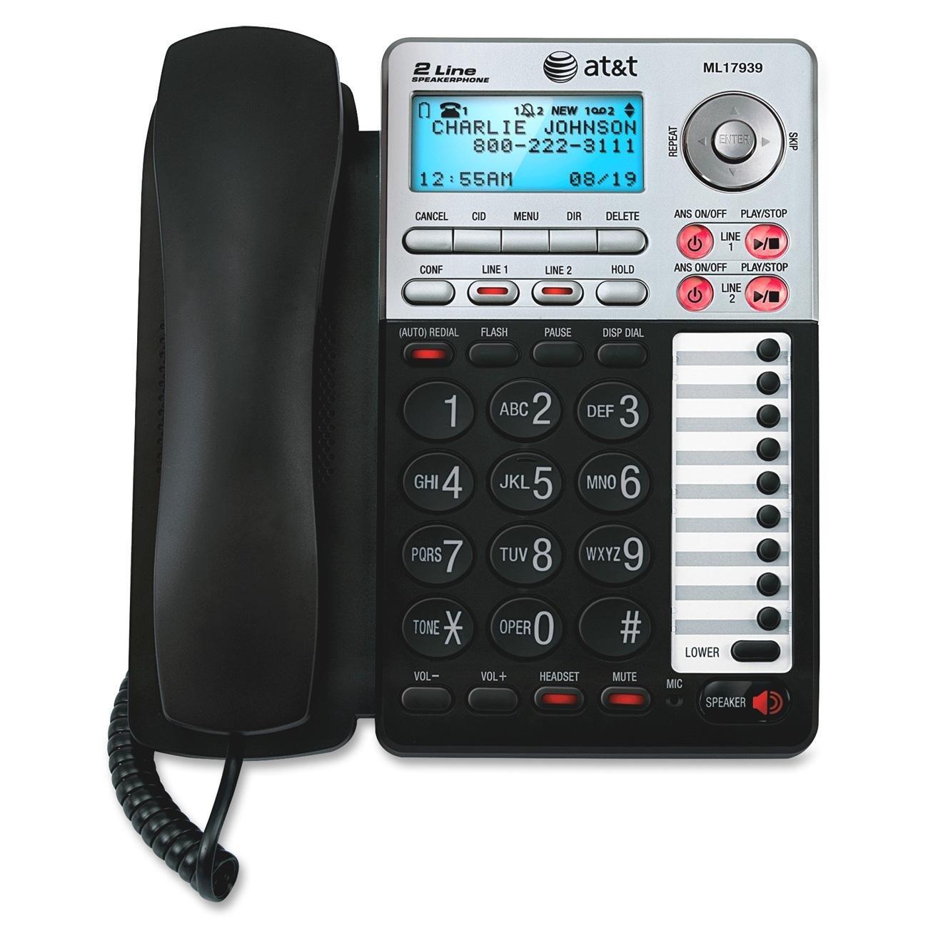 Telefonos-fijos AT&T, AT y T ML17939 2 línea con cable de teléfono con contestador y Caller ID/llamada en espera, teléfonos con cordón negro/plata Digital  en Veo y Compro