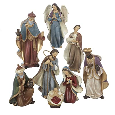 Kurt Adler Resin Nativity Figurine Set 6.25-Inch Set of 8